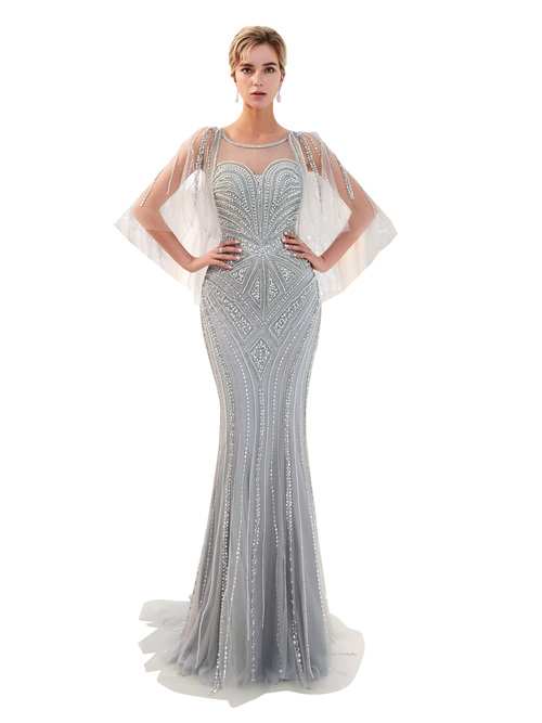Mermaid Sheer Beads Matric Ball Dress 2019 Pearls