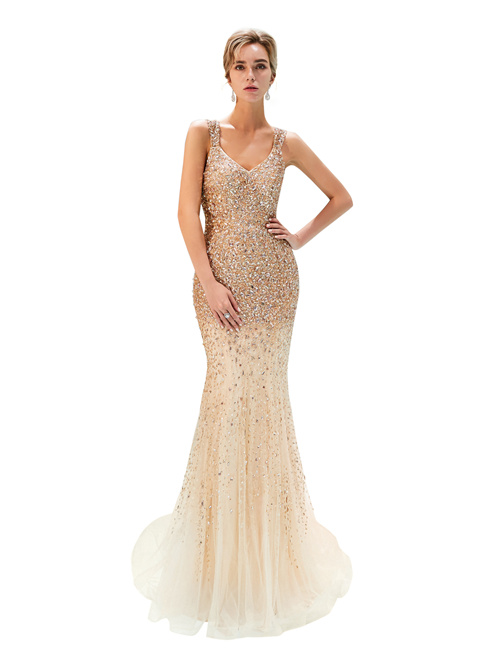 Mermaid Straps Tulle Matric Ball Dress 2019 Beads