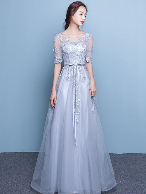 A-line Scoop Tulle Sleeves Matric Dress Applique