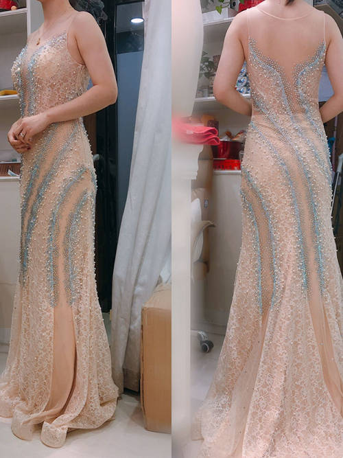 Mermaid Sheer Lace Matric Dress Pearls Beads