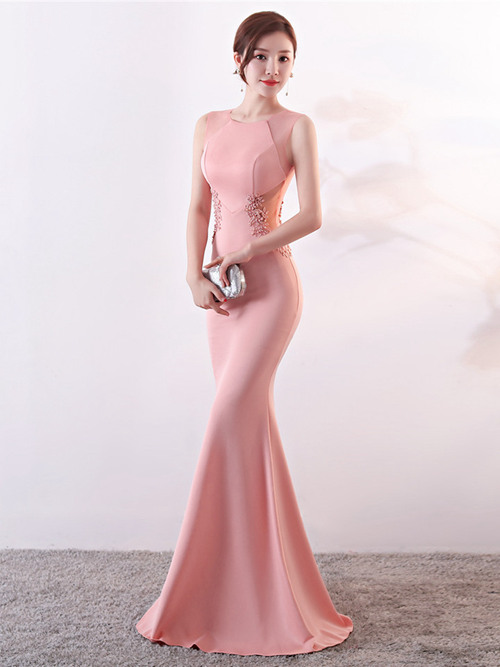 Mermaid Jewel Satin Matric Dress Applique Pearls