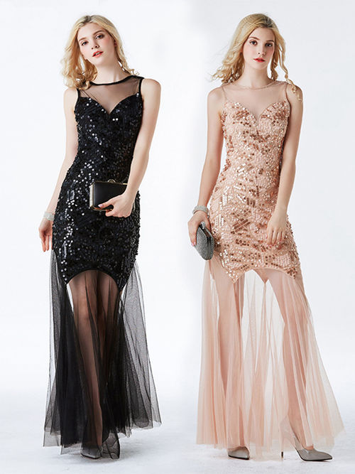 Mermaid Sheer Tulle Sequins Matric Dance Dress