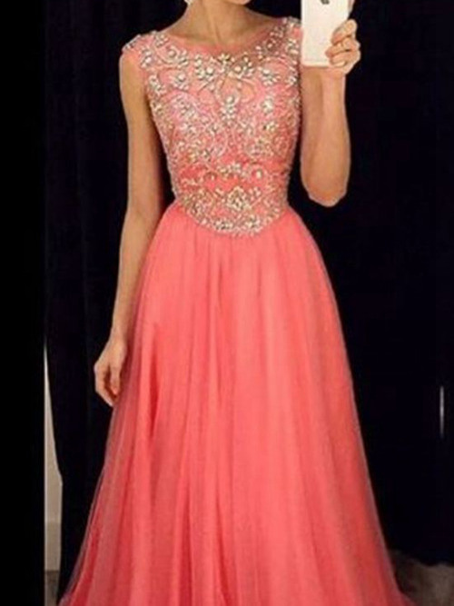 A-line Scoop Sweep Train Tulle Matric Dance Dress Beading