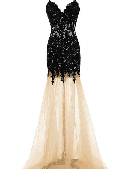 Mermaid Spaghetti Straps Long Tulle Lace Matric Dress
