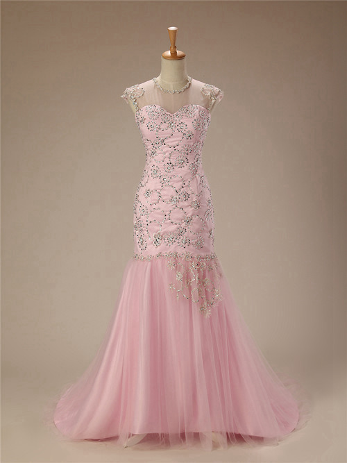 Mermaid Sheer Tulle Pink Matric Dress Applique