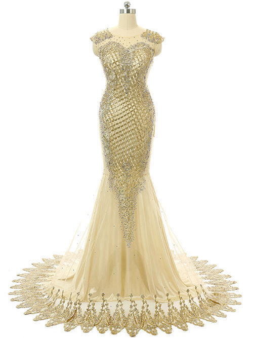 Mermaid Scoop Tulle Chiffon Gold Prom Dress Applique