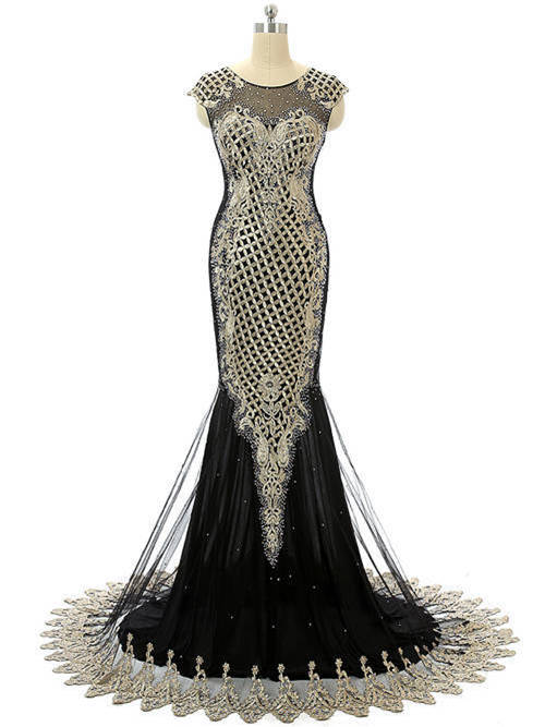 Mermaid Scoop Tulle Chiffon Black Prom Gown Applique