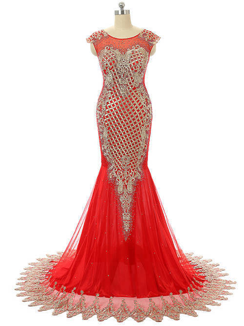 Mermaid Scoop Tulle Chiffon Red Matric Gown Applique