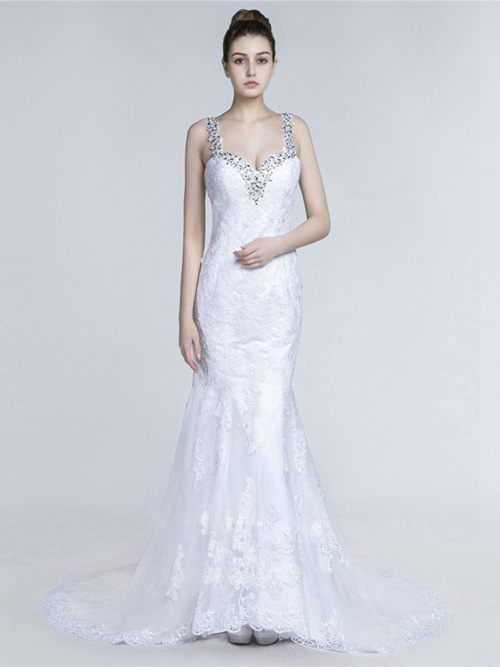 Mermaid Straps Lace Matric Farewell Dress Beads