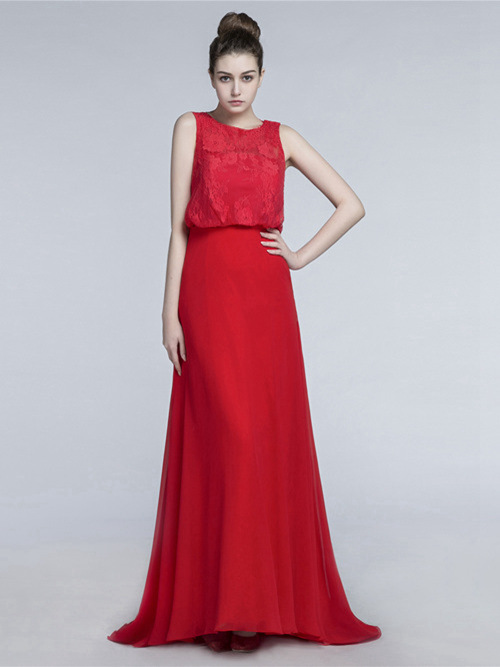 2 Piece Chiffon Lace Burgundy Matric Dress