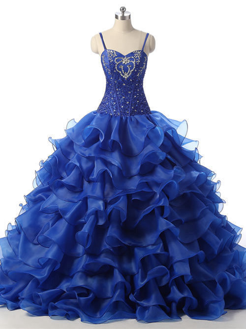 Spaghetti Straps Organza Matric Dress Beads Ruffles