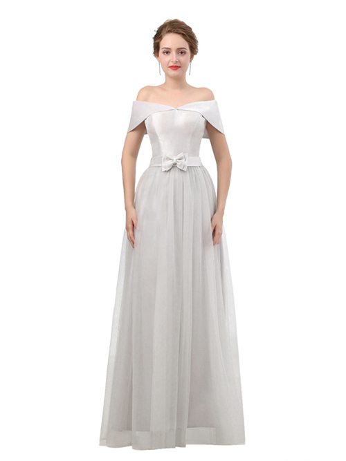 A-line Off Shoulder Satin Tulle Matric Dress Bowknot