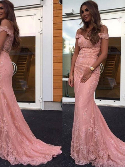 Mermaid Off Shoulder Lace Matric Farewell Dress