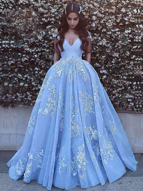 Ball Gown Off Shoulder Organza Matric Dress Appliques