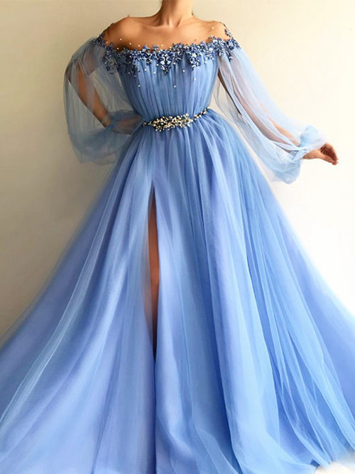Ball Gown Off Shoulder Tulle Sleeves Matric Dress Beads