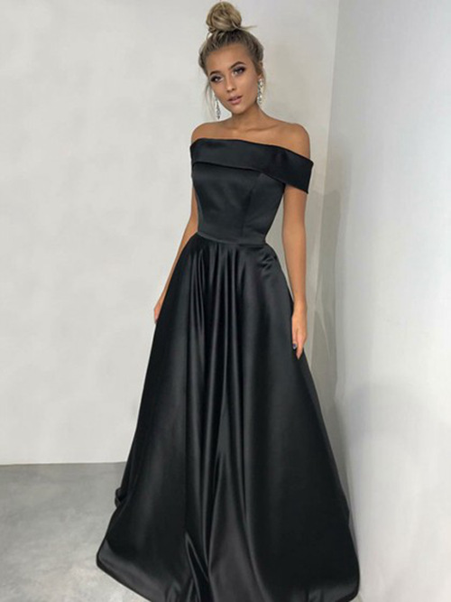 A-line Off Shoulder Satin Matric Ball Dress