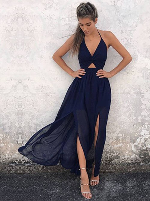 A-line Halter Chiffon Matric Dance Dress Slits