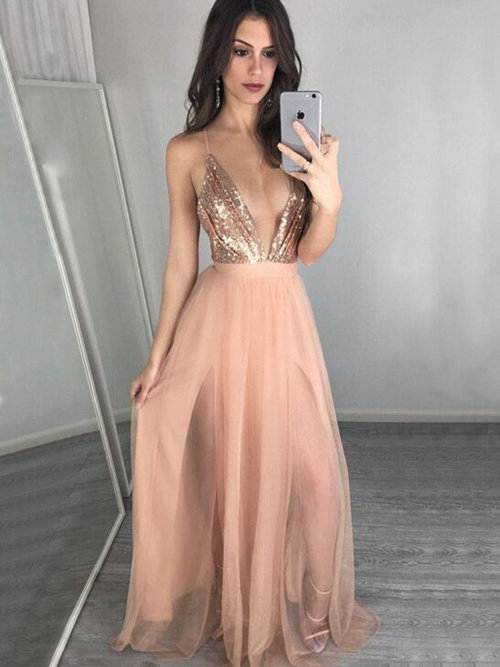 A-line Spaghetti Straps Sequins Tulle Matric Dress Slit