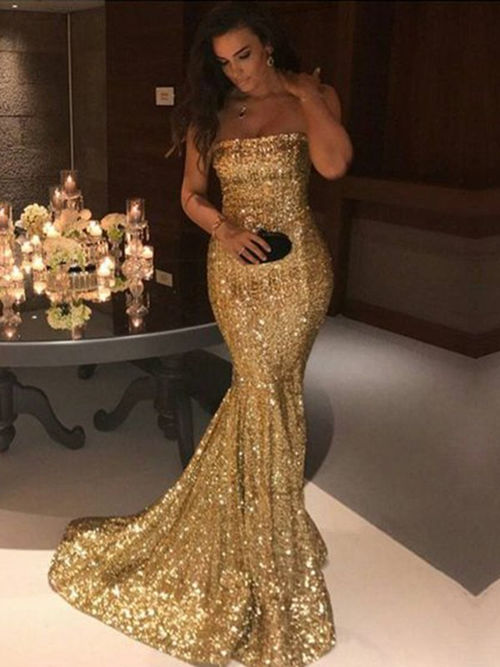 Mermaid Off Shoulder Sequins Matric Dance Dress