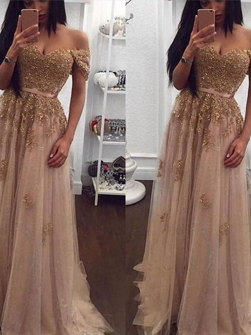 A-line Off Shoulder Tulle Sequins Matric Dress Applique