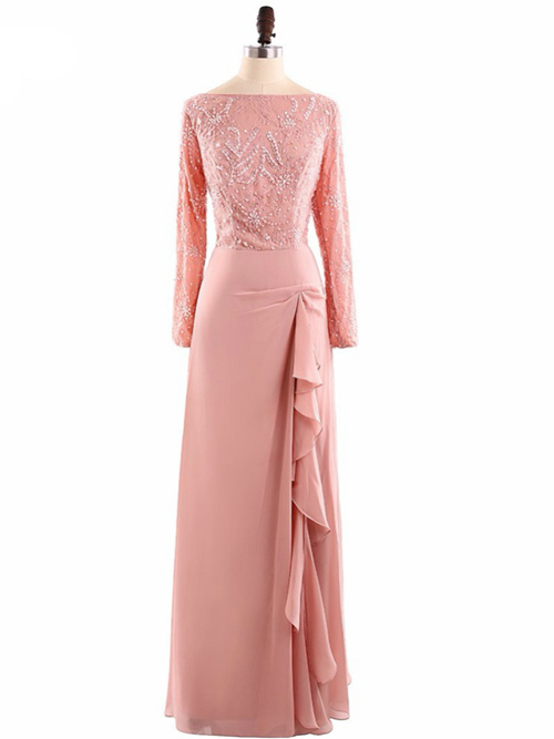 A-line Chiffon Sleeves Sequins Mother Of The Groom Dress