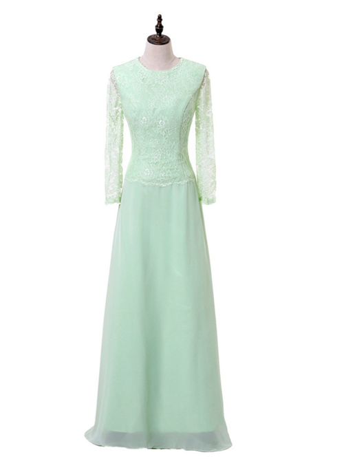 A-line Jewel Chiffon Lace Sleeves Mint Dress