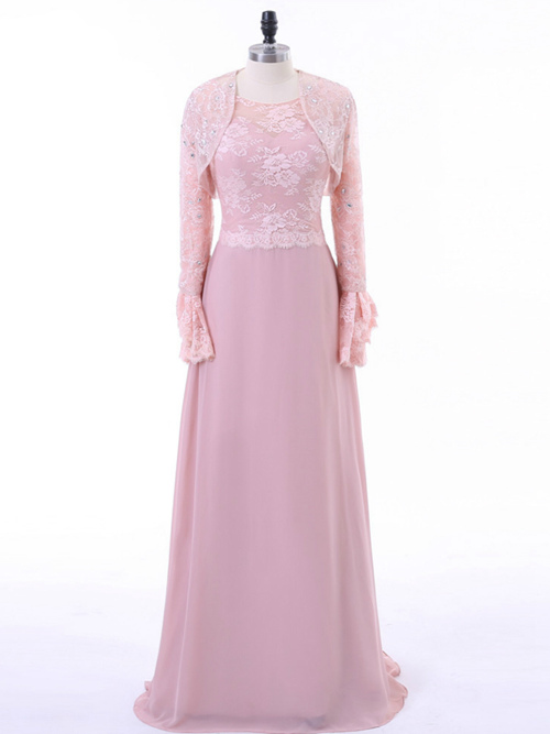 A-line Chiffon Lace Sleeves Mother Of The Bride Dress