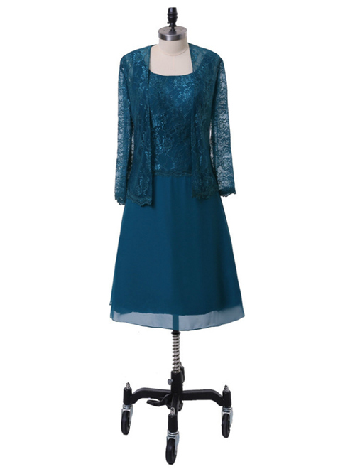 A-line Chiffon Short Lace Sleeves Mother Of The Bride Dress