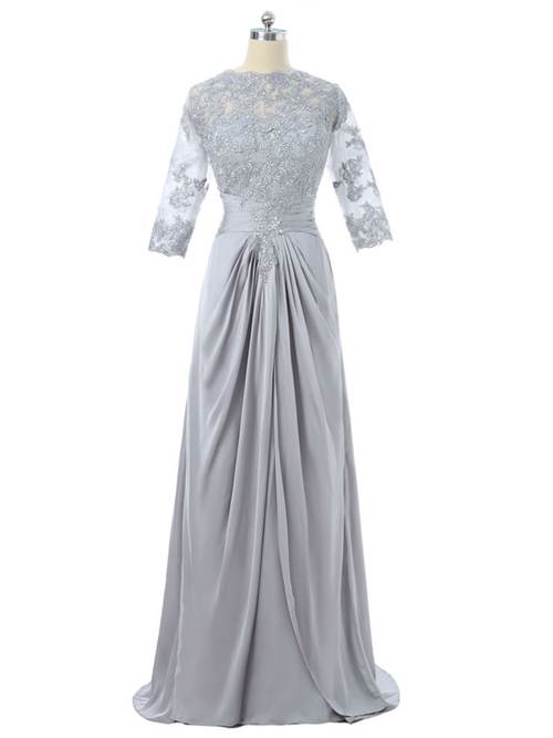 A-line Satin Lace Sleeves Mother Of The Groom Outfit