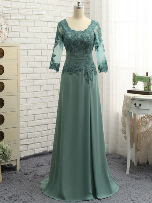 A-line Lace Sleeves Chiffon Mother Of The Groom Dress