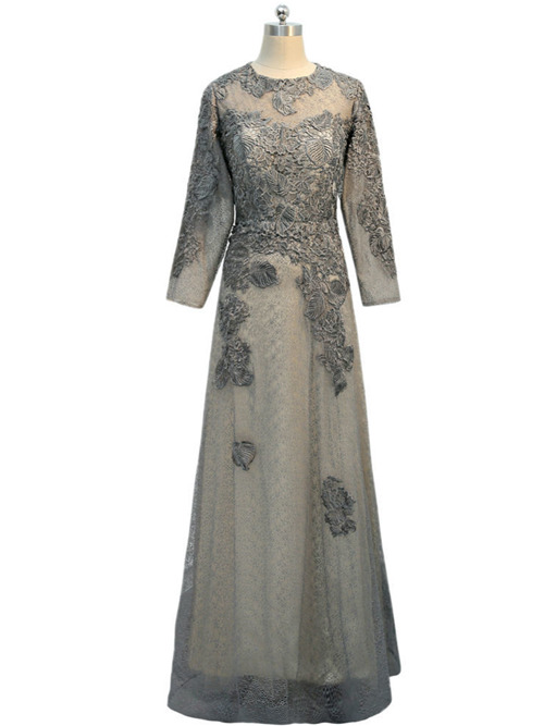 A-line Jewel Lace Sleeves Mother Of The Bride Dress