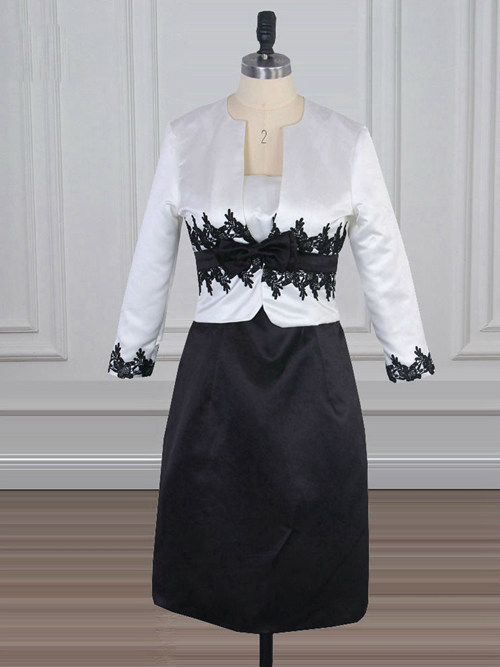 A-line Satin Jacket Black White Mother Of The Bride Outfit