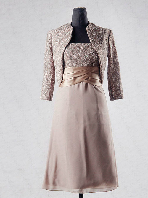 A-line Lace Jacket Chiffon Mother Of The Bride Dress