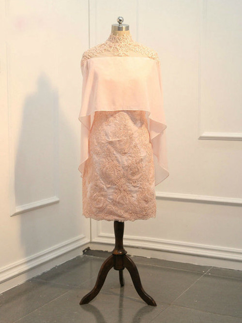 A-line High Neck Lace Short Mother Of The Bride Outfit