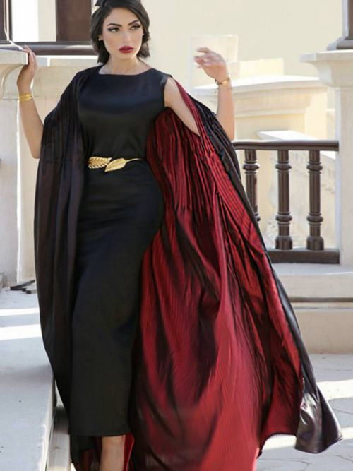 Sheath Scoop Satin Cape Tea Length Mother's Dress