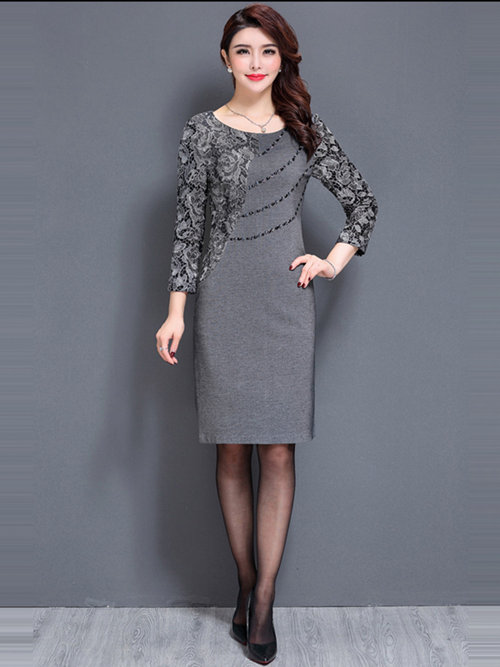 Sheath Scoop Satin Lace Sleeves Knee Length Mother Dress