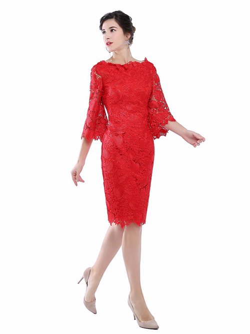 Sheath Bateau Lace Sleeves Knee Length Mother Dress