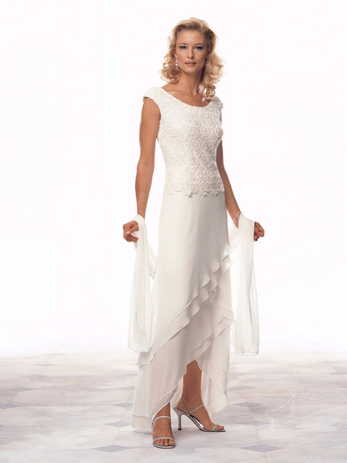 A-line Scoop Chiffon Lace Mother Of The Groom Dress