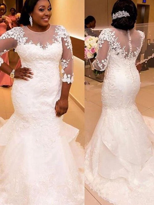 Mermaid Sheer Court Train Lace Plus Size Bridal Gown