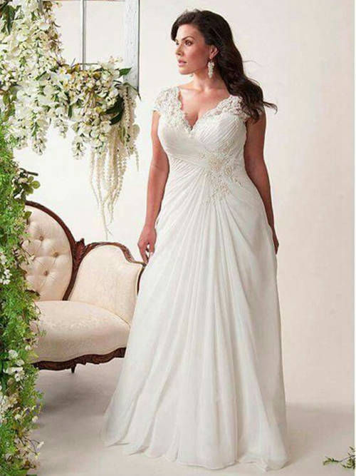 A-line V Neck Floor Length Chiffon Plus Size Bridal Gown