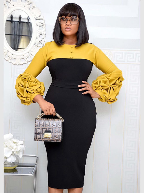 2020 African Puff Sleeves Plus Size Dress