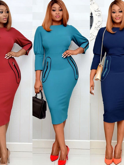 African Sleeves Plus Size Dress With Pocket