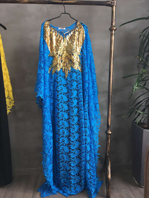 African Hot-selling Lace Loose Gown Embroidery