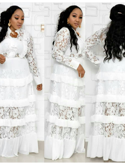 Fashion Lace Long Sleeves Plus Size Dress Layers