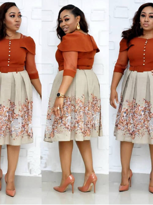 A-line Short Plus Size Dress With Print