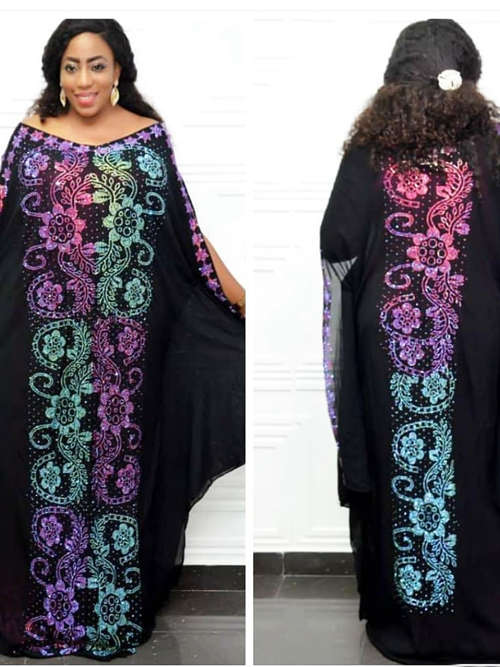 2 Piece Set Chiffon Loose Robe With Sequins