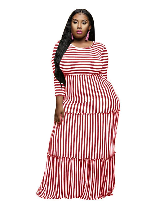 3/4 Sleeves Strips Plus Size Dress