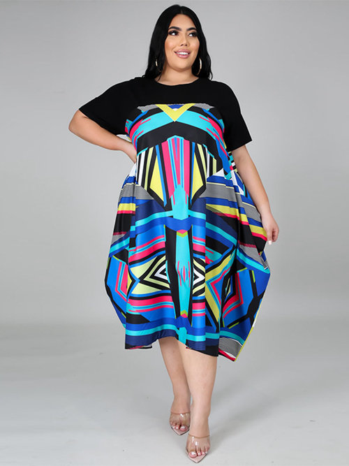 Splicing Print Tea Length Plus Size Dress