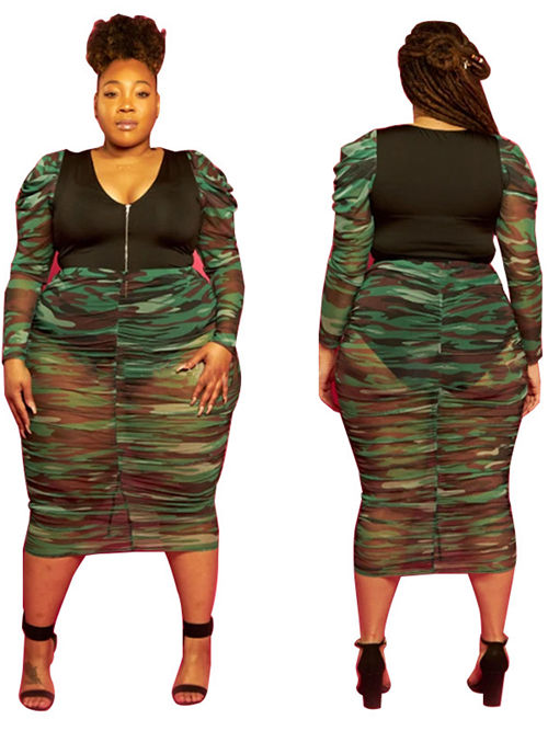 Camouflage Printed Long Sleeves Plus Size Dress