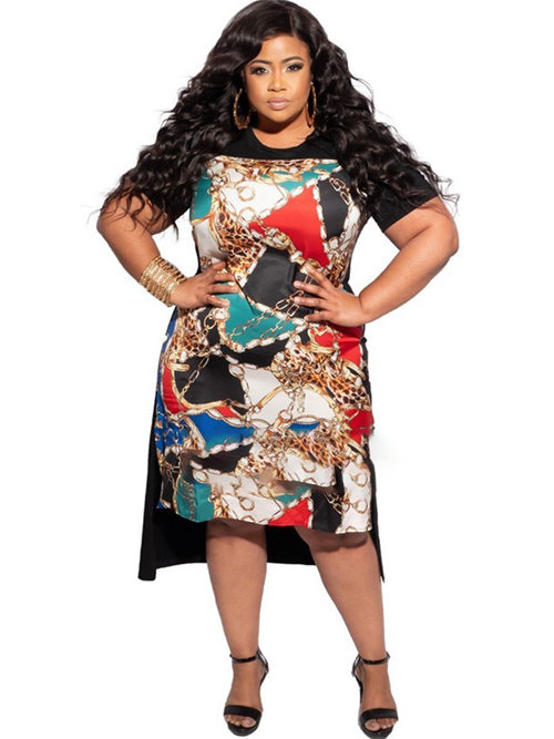 High Low Sleeves Print Plus Size Skirt